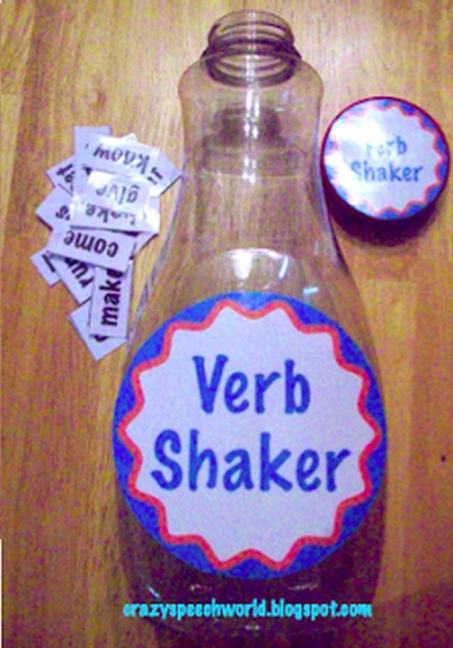 Plastic bottle labeled Verb Shaker with word cards