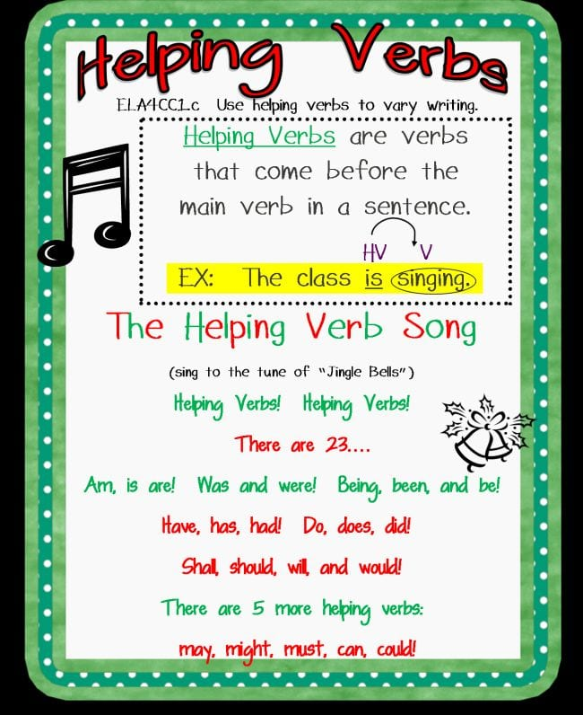 Helping Verbs song lyrics (Verb Tenses)