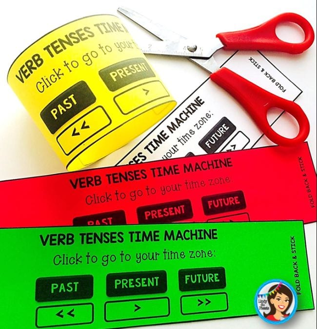 Printable verb tenses time machine arm bands and a pair of scissors