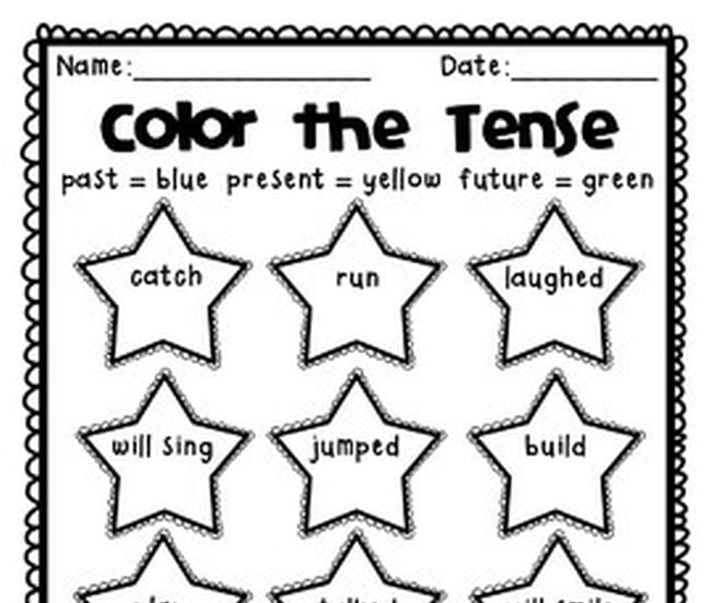 Color the Tense printable worksheet with stars containing verbs in different tenses