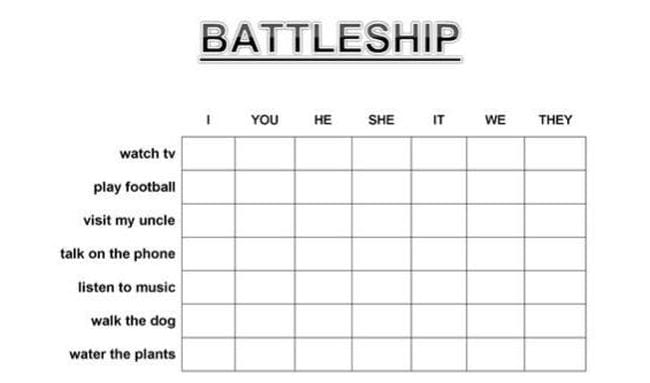 Battleship grid with I You He She It We They across the top and various activities down the side (Verb Tenses)