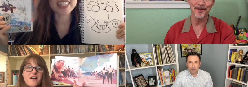 Collage of authors doing virtual author activities on YouTube