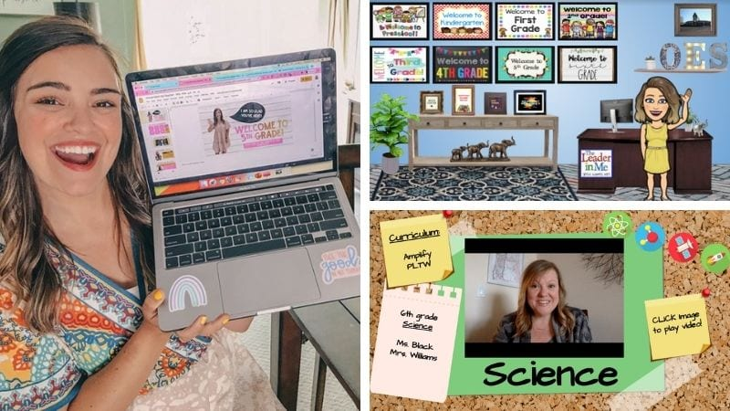 Three separate images of a teacher bitmoji in her classroom, a teacher holding up her laptop with a powerpoint, and a video.