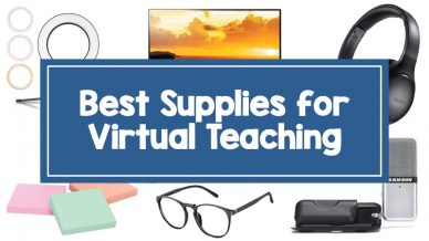 15 Virtual Learning Supplies including headphones, glasses, ring light, and microphone.