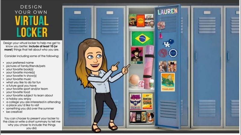 Bitmoji teacher with flag of Brazil and yoga mat in locker