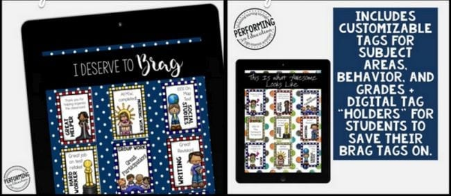 Virtual Rewards: Brag tags collection on a tablet