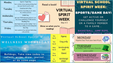 Collage of virtual theme weeks ideas for schools during quarantine