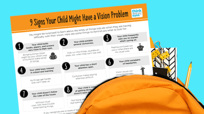 9 Signs a Kid May Have a Vision Problem - Free Vision Handout