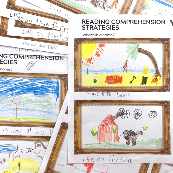 First grade reading comprehension strategies with student drawing of a story