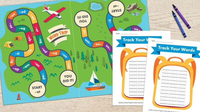 word blends reading game board with colorful spaces and word families plus backpack image with lines for words printable phonics game