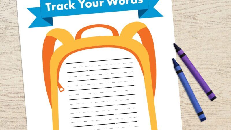 image of backpack with lines inside for kids to write words