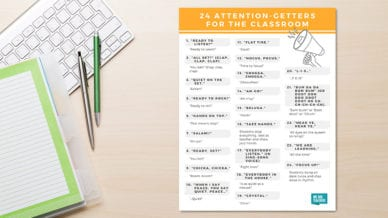A printout of 24 attention getters for classrooms