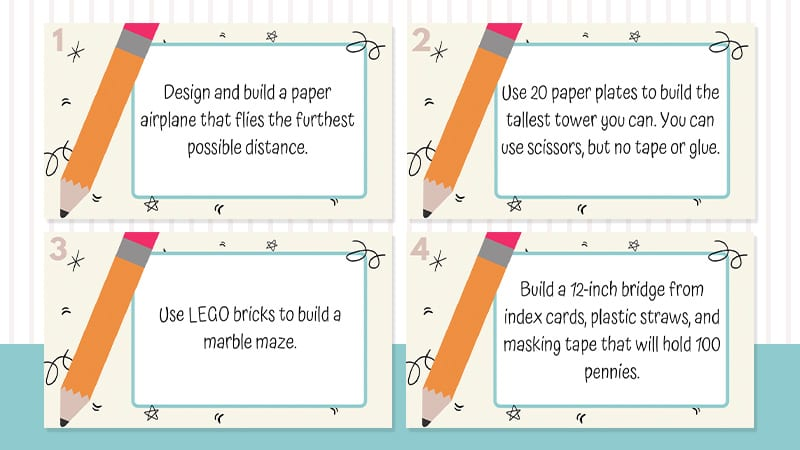 Four images of printed index cards about 3rd grade STEM Challenges