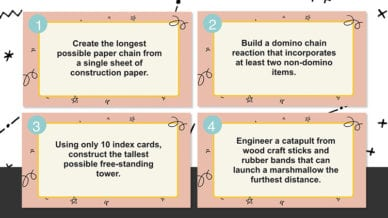 Four printout note cards for 4th Grade STEM Challenges