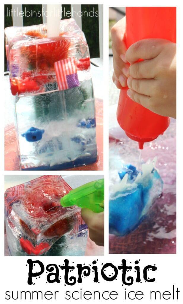 Patriotic summer science ice melt.