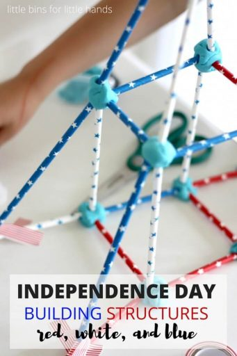 Independence day building structures. Red, white, and blue.