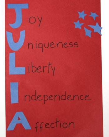 Patriotic poem saying: Joy, Uniqueness, Liberty, Independence, Affection.