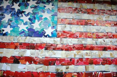 Flag mosaic collage -- fourth of july activities