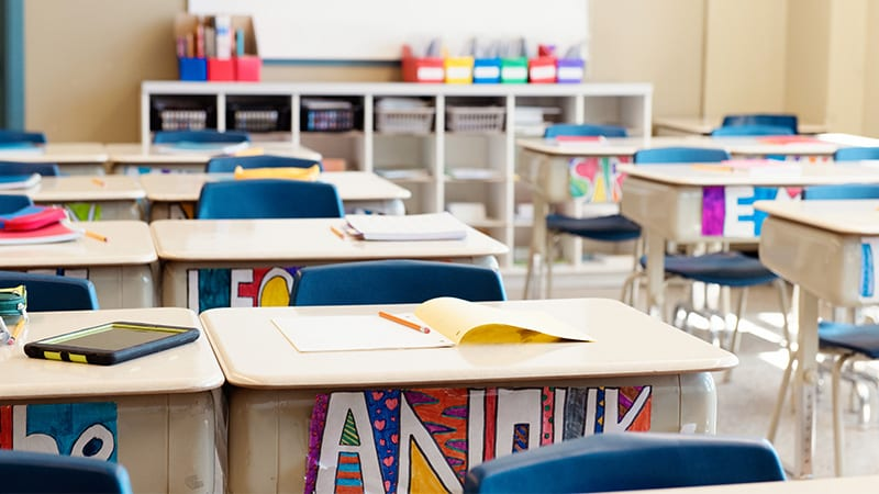 Desks in classroom