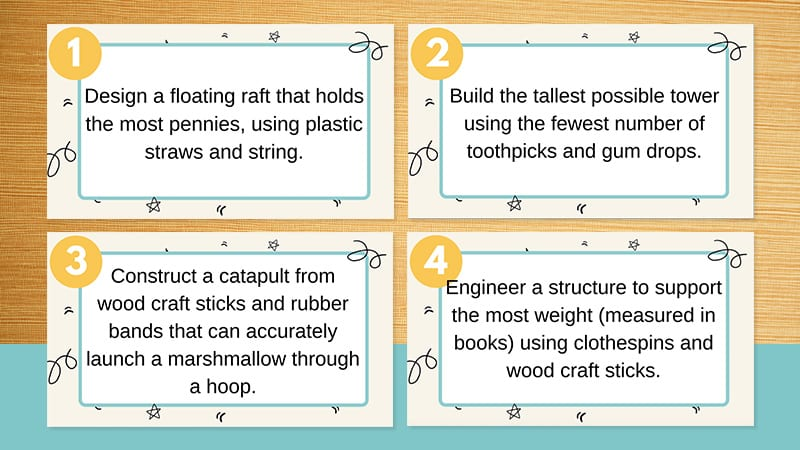 5th Grade STEM Challenges of printable cut-out note cards.