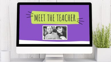 Meet the Teacher Slideshow with Purple Background and an Image of the Teacher.