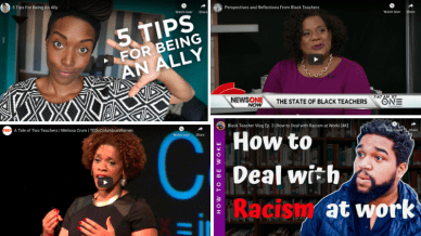 Four separate images from clips of videos about anti-racism videos for school staff.