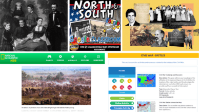 Five Separate Images of Websites to Teach Kids About the Civil War.