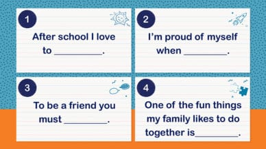 Four printed note cards of first grade writing prompts.