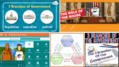 Five images of Activities to Teach Kids about the Branches of Government.