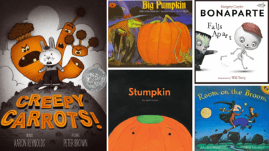 """Creepy Carrots!,"" ""Big Pumpkin,"" ""Bonaparte Falls Apart,"" ""Stumpkin,"" and ""Room on the Broom"" Books."