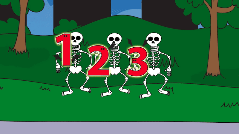 Three skeletons holding up the numbers; 1, 2, 3.