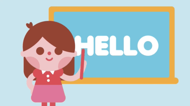 Animate of a young girl pointing at the words hello on the computer