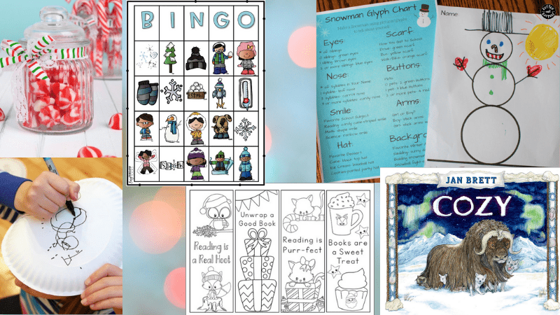6 Images of Winter Activities. Including, Bingo, Snowman Drawing, Books, and Charts