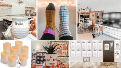 Six separate images of hygge in classrooms including socks, candles, coffee up, and rainbows.