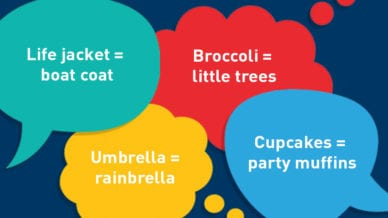Kid Invented Words: Life jacket= boat coat; broccoli= little trees; umbrella= rainbella; and cupcakes= party muffins.
