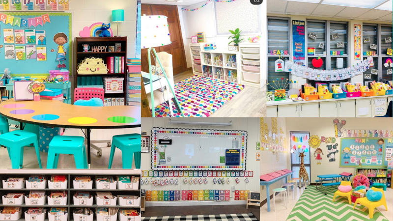 Six separate images of kindergarten classrooms including colorful and bright rugs and school supplies.