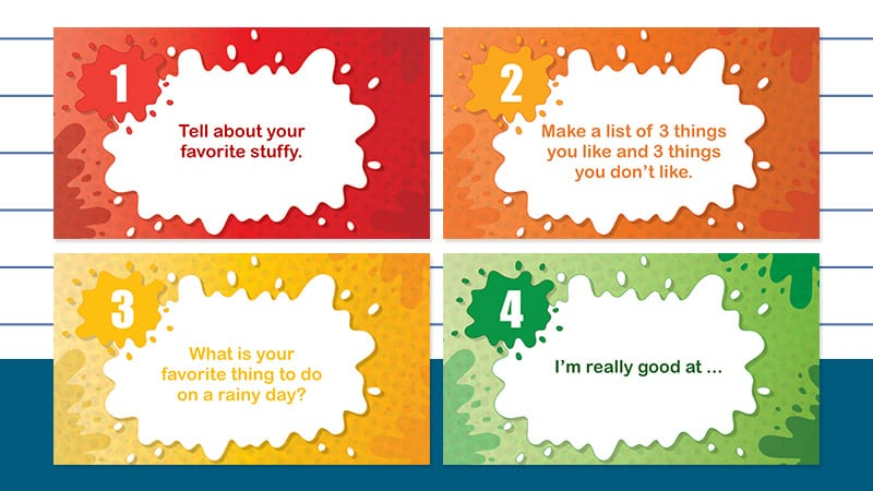 Four Note Card Kindergarten Writing Prompts Powerpoint