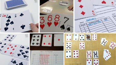 Six separate images of math card games to turn students into aces.