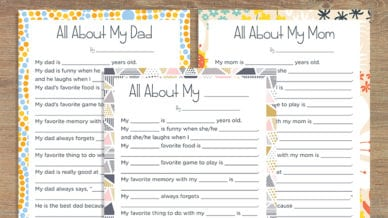 Free All About My Mom Printable + All About My Dad Printable