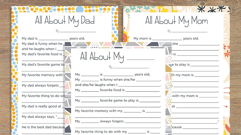 image about All About My Dad Free Printable identified as Our \u201get hold of With regards to My Mother\u201d and \u201speak to More than My Father\u201d Printables