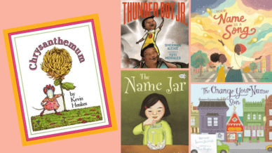"""Chrysanthemum,"" ""Thunderboy Jr,"" ""Your Name is a Song,"" ""The Name Jar,"" and ""The Change Your Name Store"" Books."