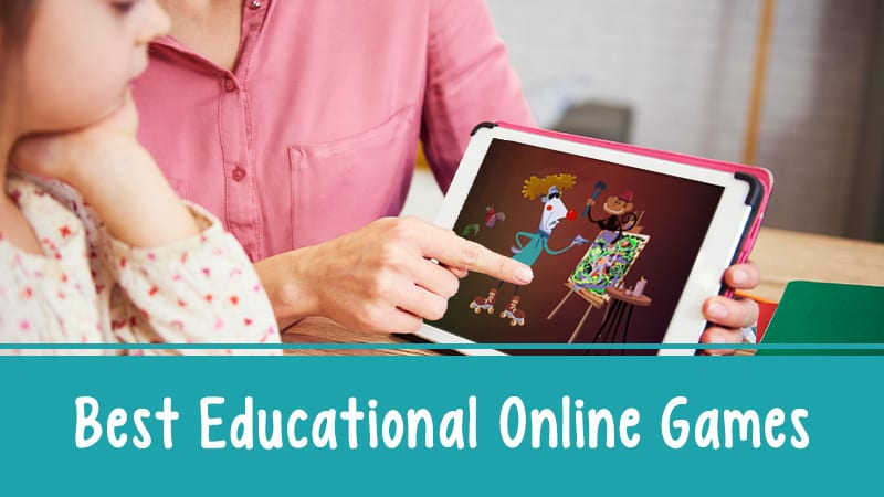Still of child and teacher looking at online educational games
