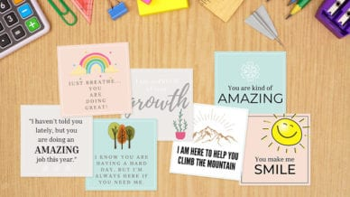 Free Printable Motivational Cards for Students with examples including your doing amazing and great!