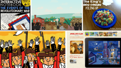 Six Images of Websites and Activities about the Revolutionary War.