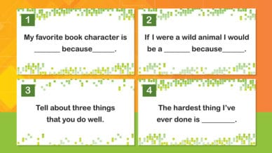 Four printed note cards for second grade writing prompts.