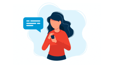 A cartoon of a woman holding her phone with a text message.
