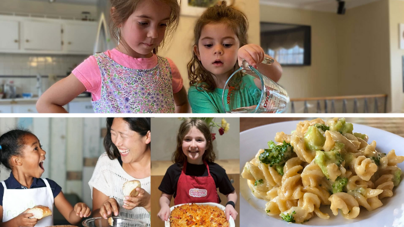 Four separate images of young kids cooking.