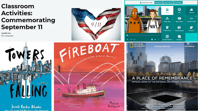 """Towers Falling,"" ""Fireboat,"" ""A Place of Remembrance,"" and Brainpop are all ways to learn about 9/11."