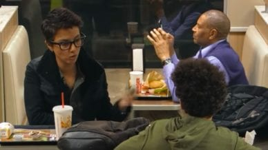 two people talking at a Burger King restaurant