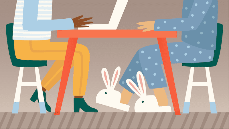 Illustrated interview with teacher in pajamas and bunny slippers